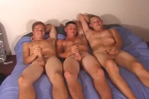 Three young chaps Rubbing Their schlongs On The bed