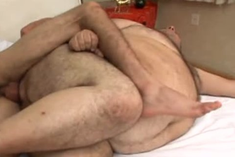 Fat guy sucks all the cum out