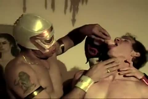 Mexican wrestlers plowing