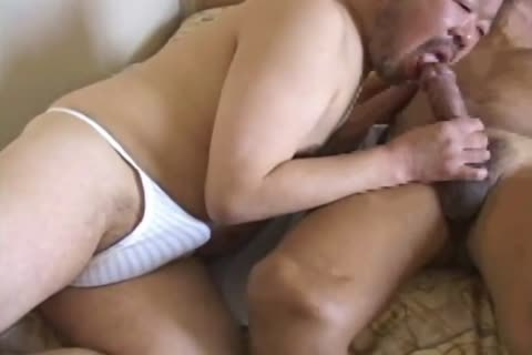 asian old guy Has his throbbing cock sucked By kinky daddy Bear