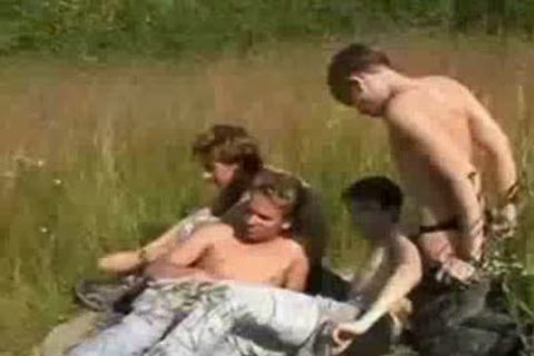 Russian chaps Have 4some down by the lake