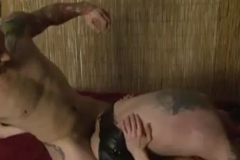 Tattooed gay Double anal - Factory video