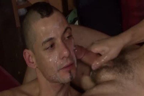 crazy Bukkake man loves getting his Face covered With cum