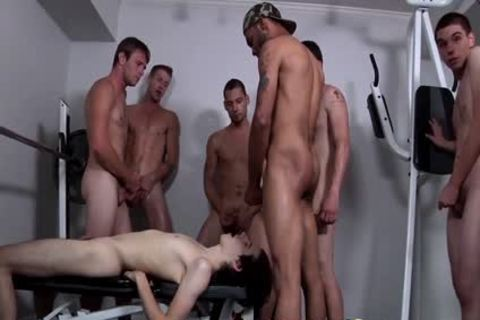 Shy twink receives his Very First Bukkake groupslam