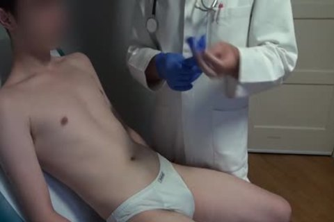 slender Japanese boy Examined, bald And Deflowered On The Doctors Examination Table. big semen flow.
