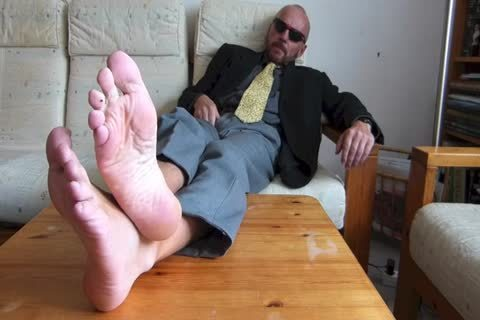 Back From The Office  . bare Feet And stroking