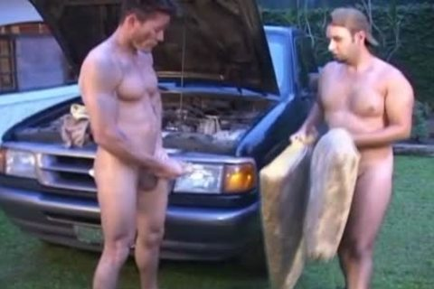 Oiled And bawdy gays slam Outside