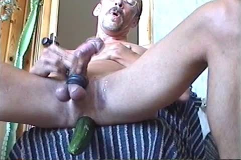 Jerk-off With A Firmly Inserted sex tool Or Cucumber (with Slow Motion Version In The Second Part)
