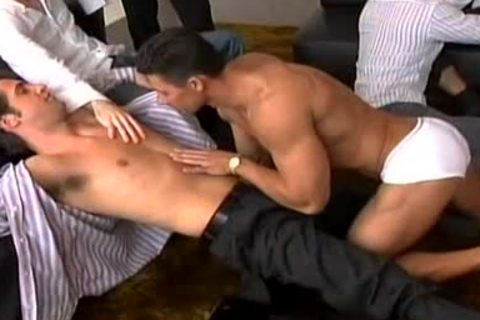A Striptease That Leads To A gigantic gay orgy!
