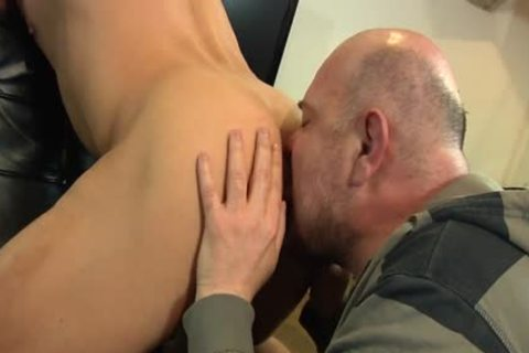 Bald guy Licks His Younger allies wazoo And Sucks His weenie