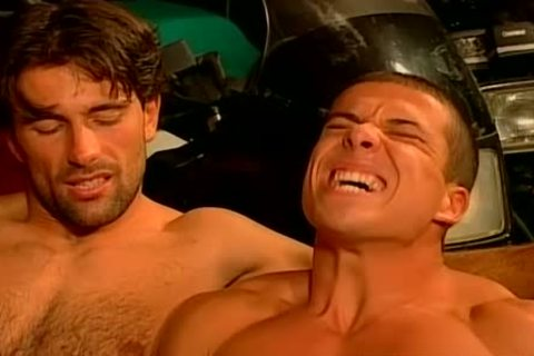 Muscled Biker men coarse And bare nail Feast gay fuckfest