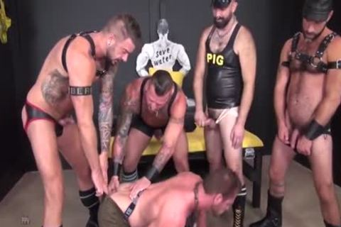 Leather gangbang