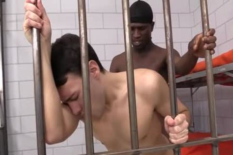 In Jail This Juvenile White guys Acquire His fuck aperture Destory By darksome Peter