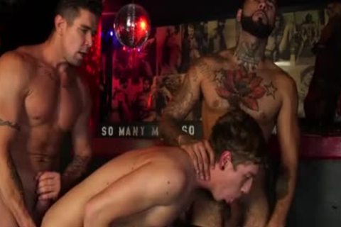 Muscle homosexual trio And cum flow