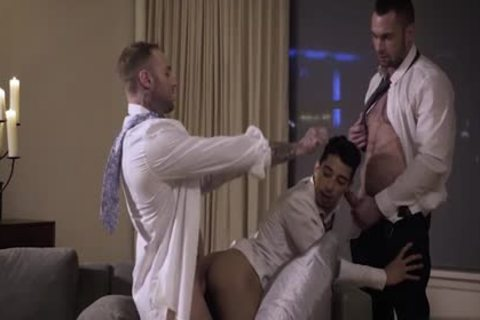 Muscle gay trio With cumshot