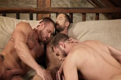 Muscle gay three-some And Creampie