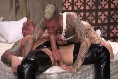 Tattoo'd Muscle Beefcakes With Bum Love Behind slamming Fetish take up with the tongue rod And Take A cumshot