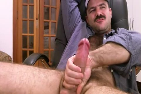 bushy Daddy Strokes fat rod & Cums