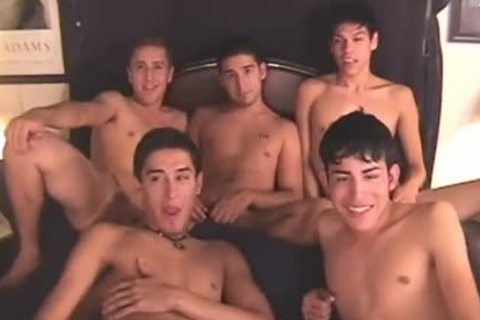 5 twinks cum All Over Each Other