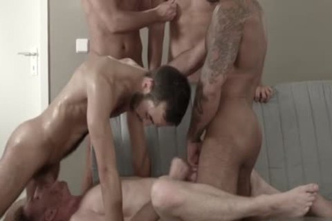 Muscle homosexual Sex Party With cock juice flow