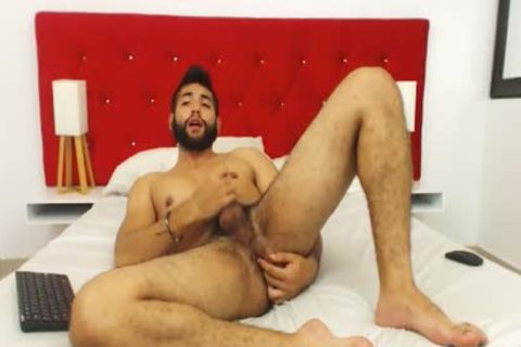 Studly bushy man Fingers His a-hole And Cums Hard