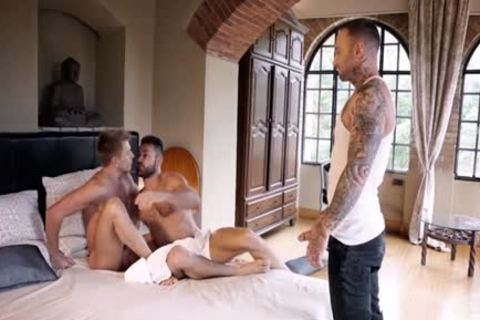 Tattoo gay three-some With cumshot