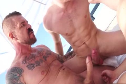 large rod homosexual threesome And Facial