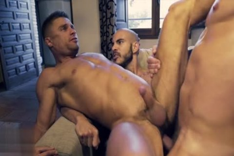 Muscle homo threesome And sex cream flow