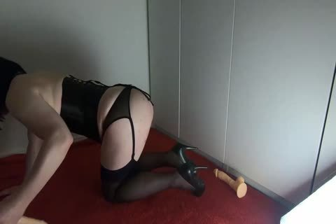 Sissy Crossdresser Lizzy Rides Double sextoy And trickle