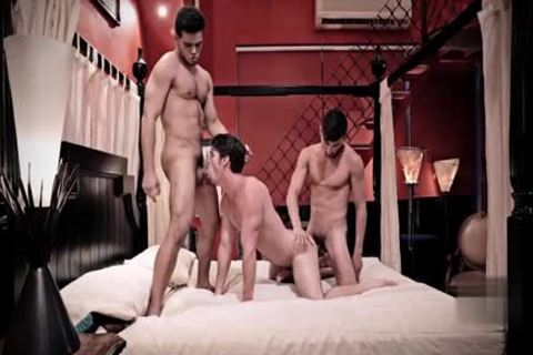 large penis gay trio With Facial