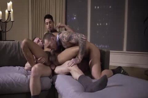 Muscle gay threesome With ejaculation
