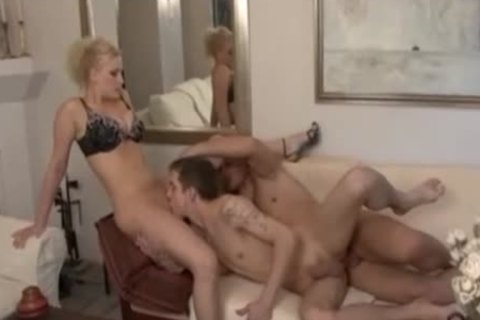 blonde cutie And homosexual pair Play On Sofa