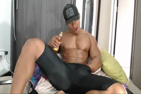 naughty Latino Muscle chap Flexes And Jerks Off On web camera In Lycra Shorts