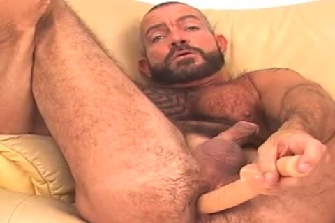huge and hairy, bearded BEAR works ass w/ toy